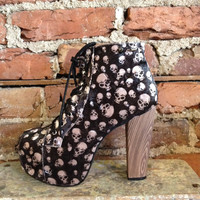 Goth Black Velvet Skull Pattern Lace Up Platform Booties Boots