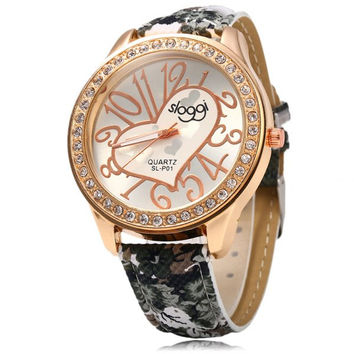 SLOGGI Women Heart Decoration Rhinestone Leather Quartz Watch