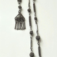 Antique GEORGIAN Berlin IRON Silesian Wirework Necklace Chain Filigree Tassel, Cut STEEL Beads, Rare Early Victorian Jewelry c.1830's