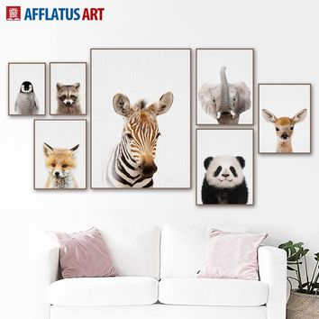 Nordic Poster Cartoon Zebra Deer Panda Fox Wall Art Canvas Painting Posters And Prints Wall Pictures Kids Room Quadro Wall Decor