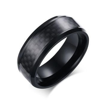 Fashion Black Carbon Fiber Punk Ring for Men Stainless Steel Ring Wedding Mens Jewelry 8mm