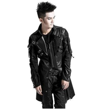 Punk Winter Man Long Sleeve Poison Jacket Goth Gothic Rock Black Leather Military Jacket Long Sleeves Coat Plus Size 4XL 2016