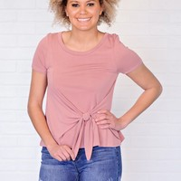 * Kathleen Tee With Tie Front : Mauve
