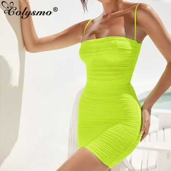 Colysmo 2 Layers Mesh Dress 2019 Summer Sleeveless Bodycon Party Dress Women See Through Beach Sexy Dress Ruched Mini Robe Neon