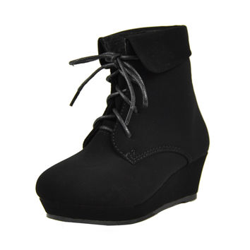 Kids Ankle Boots Lace Up Suede Casual Wedge Shoes Black SZ