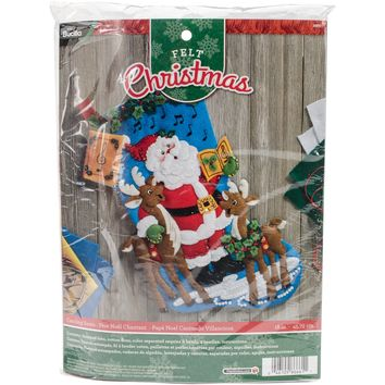 "Caroling Santa Bucilla Felt Stocking Applique Kit 18"" Long"