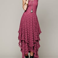 Burgundy Sleeveless Lace Layered Asymmetric Ruffled Maxi Dress