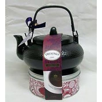 Twinings of London Teapot and Tea in Tin Gift Set