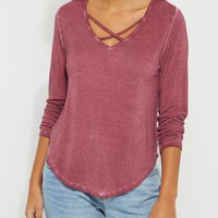 Burgundy Strappy Long Sleeve Tee