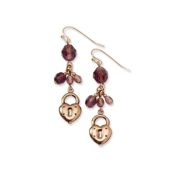 Copper-tone Heart & Lock with Purple Crystals Earrings