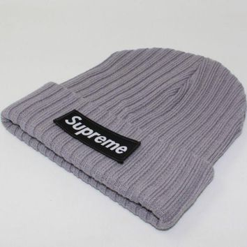 Supreme Autumn And Winter Patch Letters Knitted Hat Gray
