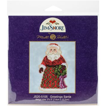 """Greetings Santa (18 Count) Mill Hill/Jim Shore Counted Cross Stitch Kit 5""""X5"""""""