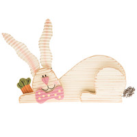 Resting Wood Bunny Figurine with Carrot | Hobby Lobby