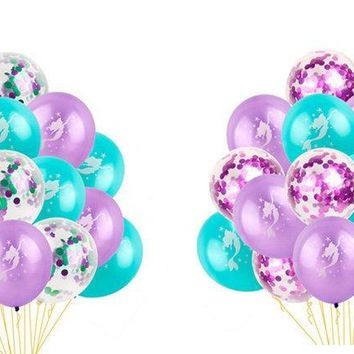 MERMAID BALLOONS - Under The Sea Party Decoration, Mermaid Party Decoration, Girls Birthday Sea Party. Purple Mermaid Balloons, Confetti