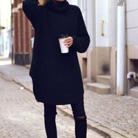 Snowflakes Oversized Sweater Dress - Black