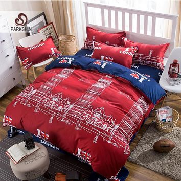 Cool Parkshin Bedding Set London Big Ben Comfort Duvet Cover Sheets Set Bedspread Double Bed Laying Queen King Bed Linens BedclothesAT_93_12