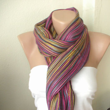 Rainbow multicolor Cotton and Viscone Long Scarf with by Periay