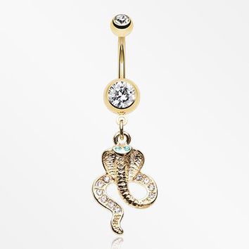Golden Ancient Cobra Snake Sparkle Belly Button Ring