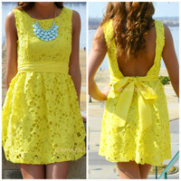 Carrendale Yellow Crochet Mini Dress