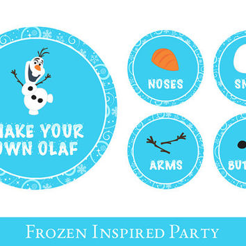 Frozen food labels // Snowman making Station, frozen party decor // Frozen Party Printable, Olaf Inspired Decorations