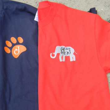 Alabama or Auburn Monogram Tees