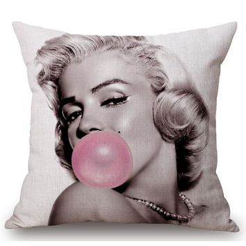 The Walking Dead Cotton Linen Cushion Cover Marilyn Monroe Audrey Hepburn Elvis Presley Chair Waist Square Pillow Cover Homing