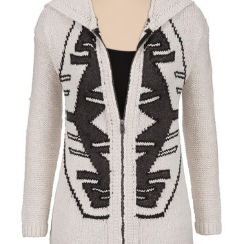 Silver Jeans ® Zip Front Patterned Sweater - Ivory Combo