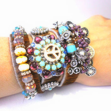 Real Eyecatcher this friendship hippie bracelet, bohemian, peace, beaded turquoise blue and white bronze pink purple, flower heart, ibiza