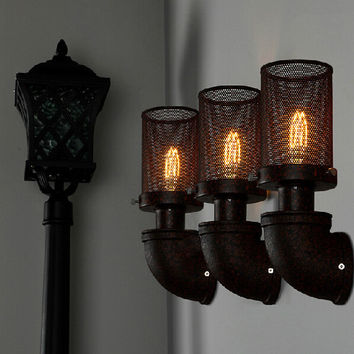 Rural Wrought Iron Pipes Wall Lamp