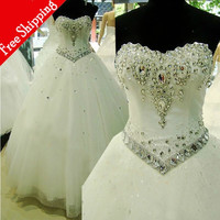 Hot Discount Super Vintage Crystal Floor Length Cheap Wedding Dresses 2016 Plus Size Ball Gown Sweetheart Bridal Wedding Gowns