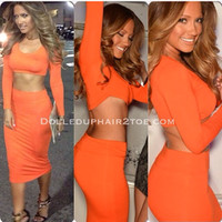 Jaide High Waisted Cropped Outfit In Orange | DOLLED UP HAIR2TOE