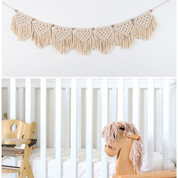 Macrame Woven Wall Hanging Fringe Garland Banner - BOHO Chic Bohemian Wall Decor - Apartment Dorm Living Room Bedroom Baby Nurse