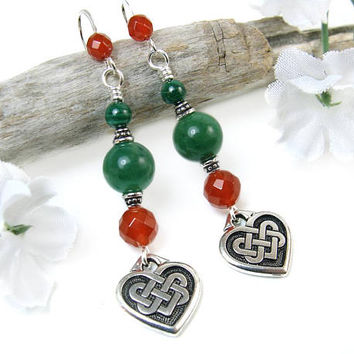 Celtic Heart Earrings, Celtic Knot Earrings, Eternal Knot Earrings, Endless Knot Gift of Love, Green Gemstone Earrings, St. Patrick's Day