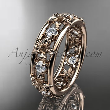 14kt rose gold diamond leaf wedding ring,engagement ring, wedding band. ADLR160 nature inspired jewelry