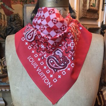 "New SUPER RARE LOUIS VUITTON Classic Red 100% Cotton Scarf Bandanna, 22"" Sq."