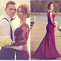 Mermaid Prom Dress 2016 Custom Made Long Sleeve Lace Burgundy sexy Hot Sale Long Mermaid Evening Party Dress For Graduation