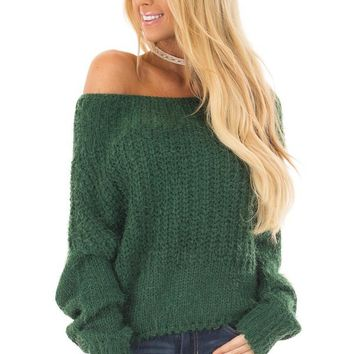 Hunter Green Off the Shoulder Long Sleeve Sweater