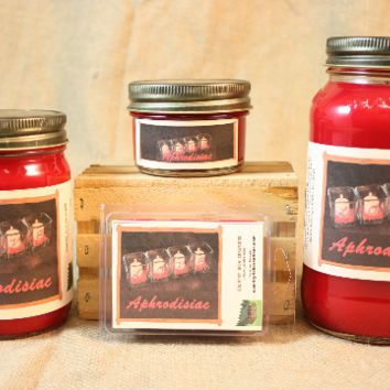 Aphrodisiac Scented Candle, Aphrodisiac Scented Wax Tarts, 26 oz, 12 oz, 4 oz Jar Candles or 3.5 Clam Shell Wax Melts