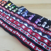 Fido and Dog Bones Crayon Roll Organizer ~ Holds 16 Crayons~ Ready to Ship