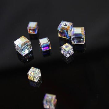 White AB Color Square 2MM 3mm 4mm 6mm 8mm Austria Crystal Beads charm Glass Beads Loose Spacer Bead for DIY Jewelry Making H25