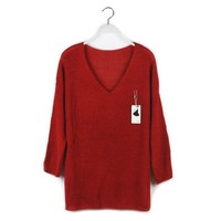 Aliexpress.com : Buy Free shipping 2013 Autumn new Korean Style V neck blouse sweater large size and long loose bat wing sweater XCD2081 810 28 from Reliable sweater collar suppliers on eFoxcity Wholesale