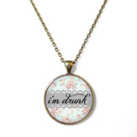 Floral i'm drunk Necklace - Funny Pop Culture Party Drunk Girl Jewelry - Pastel Goth Soft Grunge Jewelry