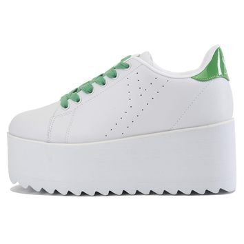 Women's Lala White Green Platform Sneakers