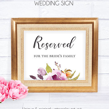 Reserved Floral Wedding Sign, Customizable Poster, Wedding Reception Signs, DIY Wedding Sign, Printable Signs,Reserved Sign,Marsala Burgundy