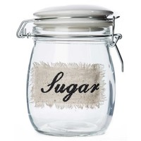 Clear Glass Sugar Jar with White Ceramic Lid | Shop Hobby Lobby