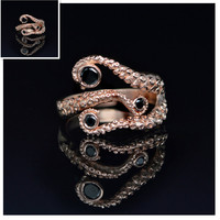 Tentacle Ring Octopus Ring Seductive Tentacle Ring in Rose Gold  Plating and Black Rhinestone by Octopus wedding rings for women