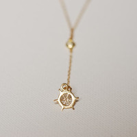 Gold Nautical Necklace Lariat,14k gold Helm charm,Wheel Necklace,Gold Wheel Necklace,Nautical Pendant,Nautical Jewelry, Dainty Helm Rosary