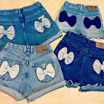 High Waisted Denim Shorts Bow Shorts Custom Made Denim Jean Shorts Tumblr Hipster