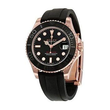 Rolex Yacht-Master Automatic Black Dial 18kt Everose Gold Black Rubber Strap Unisex Watch