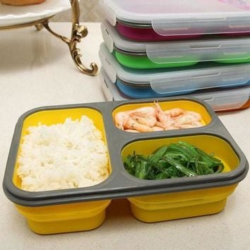 ICIK272 1100ml Silicone Collapsible Portable Lunch Box Bowl Bento Boxes Folding Food Storage Container Lunchbox Eco-Friendly
